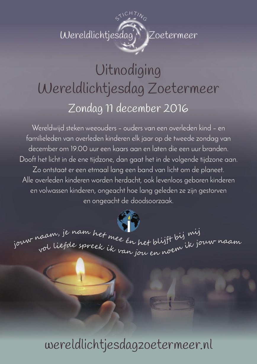poster wereldlichtjesdag zoetermeer