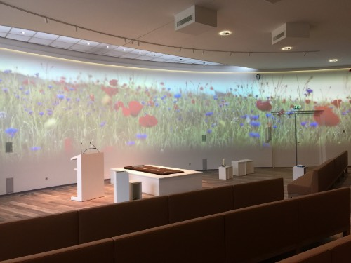 aula crematorium Zoetermeer thema bloemen