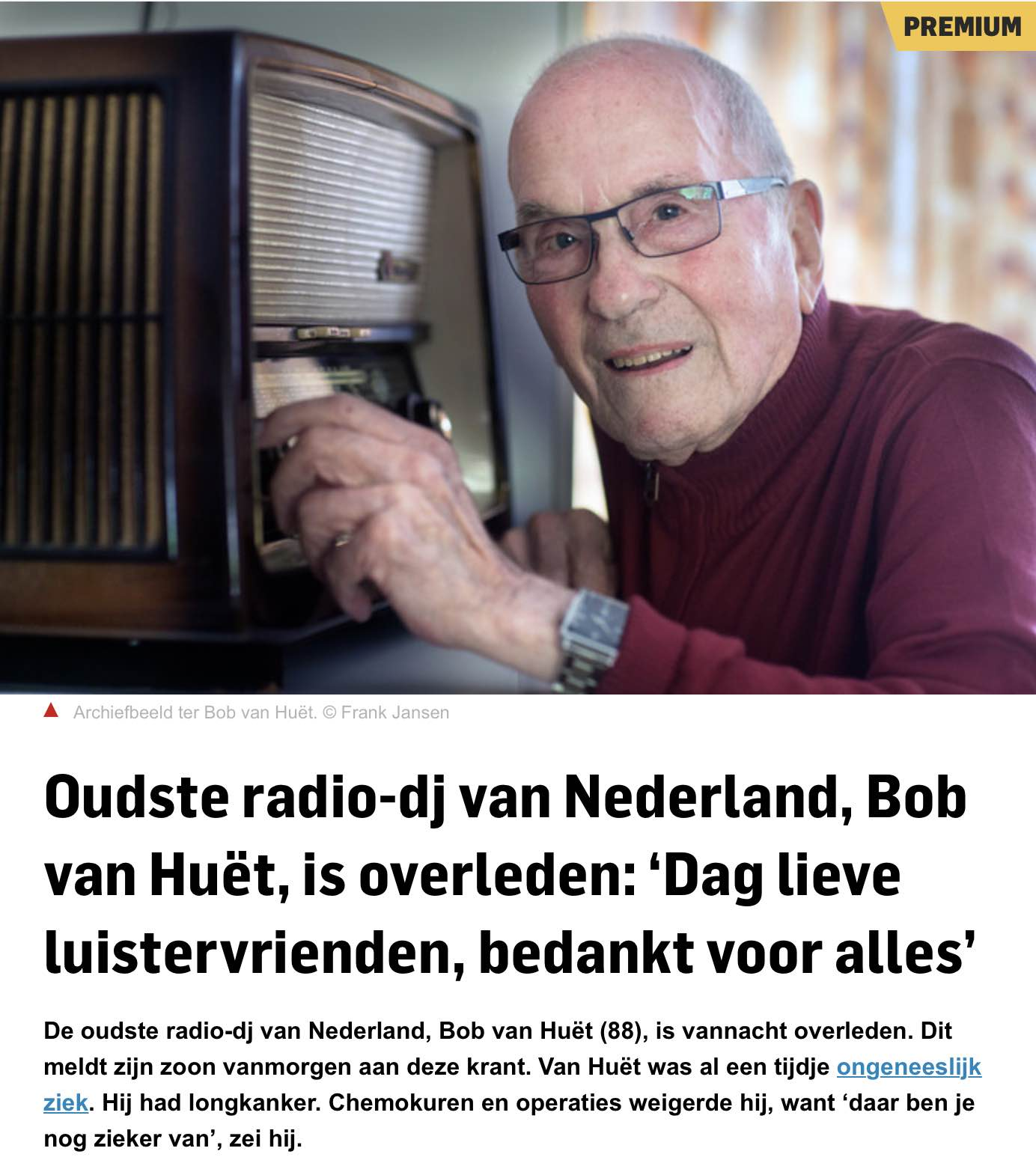 Artikel in AD on line over Bob van Huët