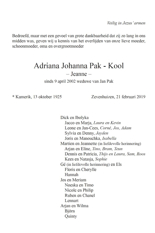 Adriana Johanna Pak-Kool rouwkaart binnenkant rechts