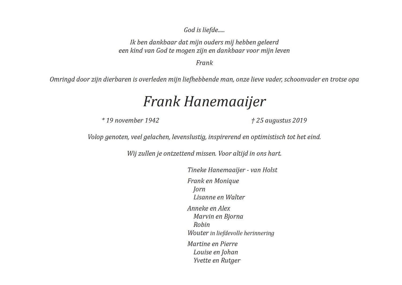 Frank Hanemaaijer rouwkaart midden rechts